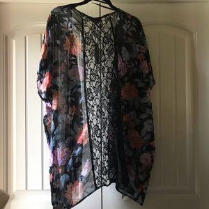 Tops - Black floral wrap